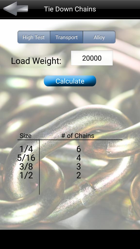 Tie Down Chain Calculator